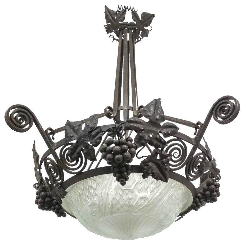 Schneider Glass & Wrought Iron Art Deco Chandelier