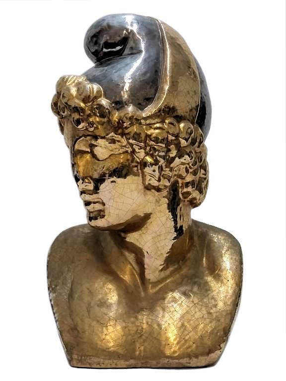 Gilded Ceramic Bust Sculpture of Greek Hero, Paris, After Antonio Canova