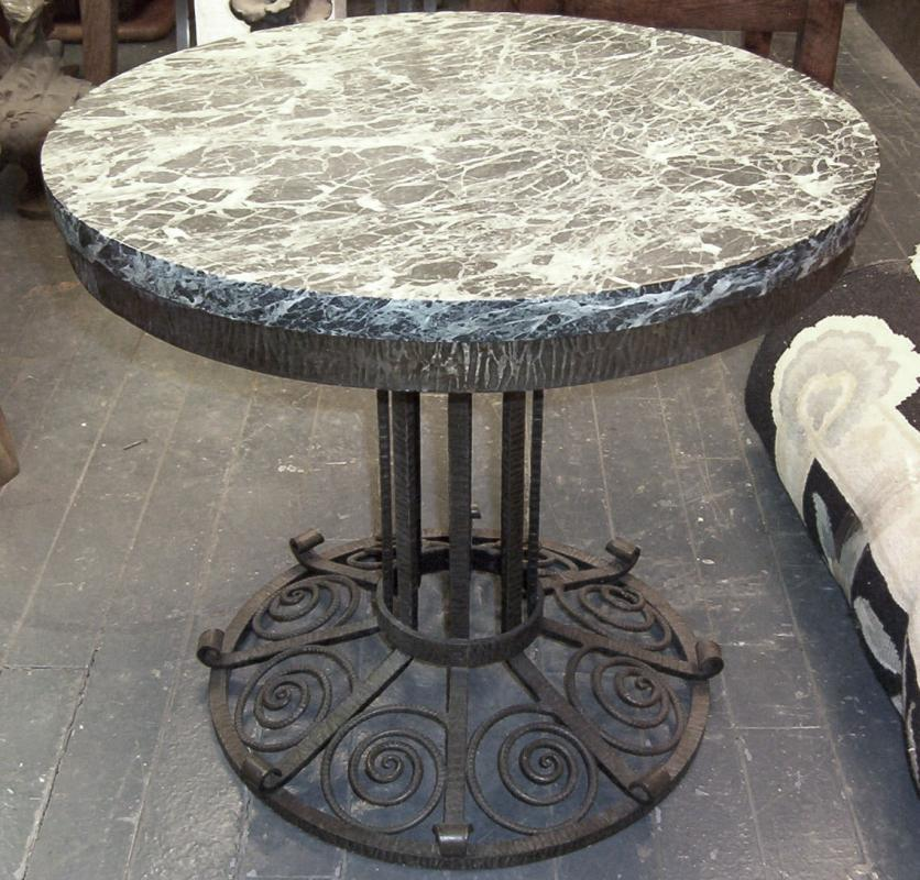 French Art Deco Marble and Wrought Iron Low Table