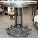 French Art Deco Marble and Wrought Iron Cocktail Table