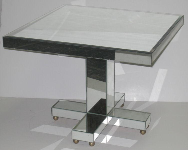 Contemporary Mirrored Low Cocktail Table in Mid-Century Style