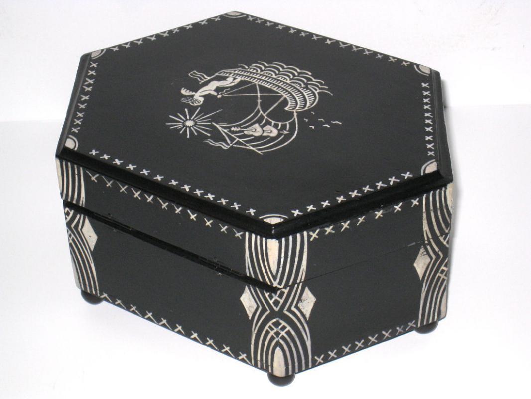 Dagobert Peche Attributed Secessionist Arts & Crafts Period Ebonized Jewelry Box