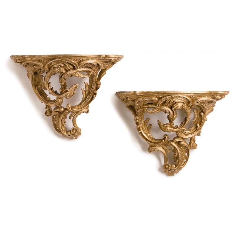 Pair Large Antique Louis XV Style Carved Giltwood Wall Brackets