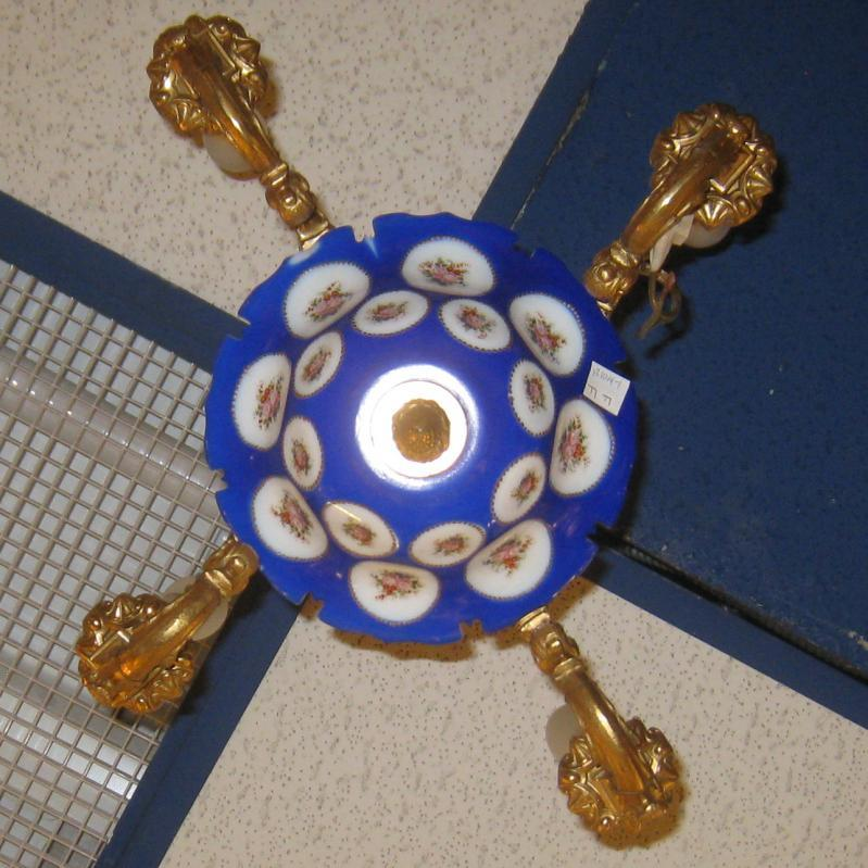 Petite Enameled Glass and Bronze Chandelier