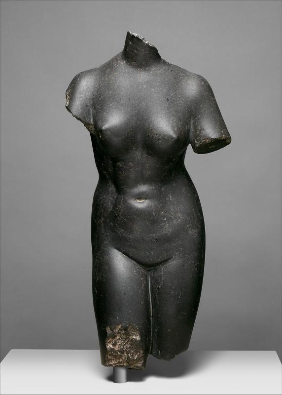 Aphrodite Torso Sculpture After the Ancient in Basalt