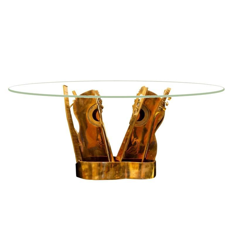 Arman Bronze Guitar Cocktail Table from Limited Edition