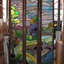 Antique Arts and Crafts Stained Glass Windows Room Divider