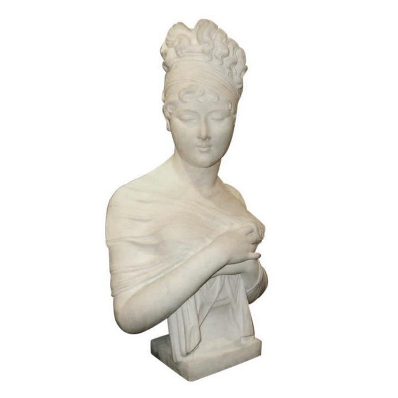Madame Juliette Recamier Marble Bust Sculpture After Joseph Chinard