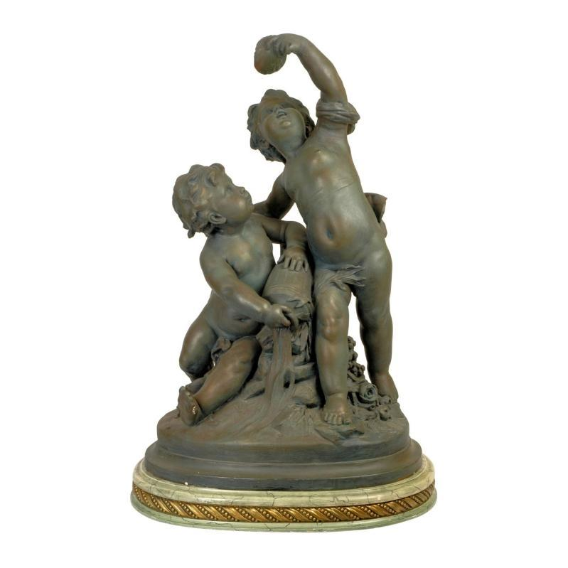 Neoclassical Allegorical Gesso Cherubs Group Sculpture In Style of Carrier-Belleuse