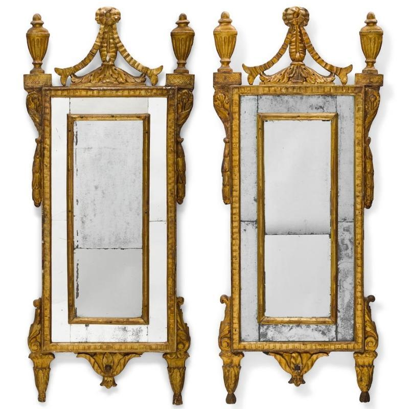Pair Antique Italian Neoclassical Giltwood Pier Mirrors