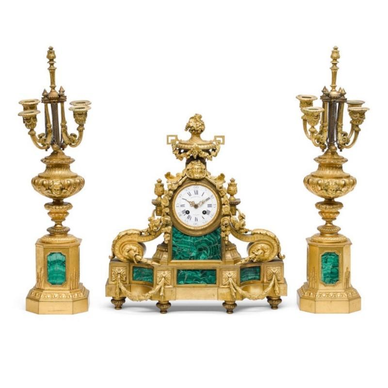 Henri Picard Louis XVI Style Malachite and Bronze Mantel Clock and Candelabra