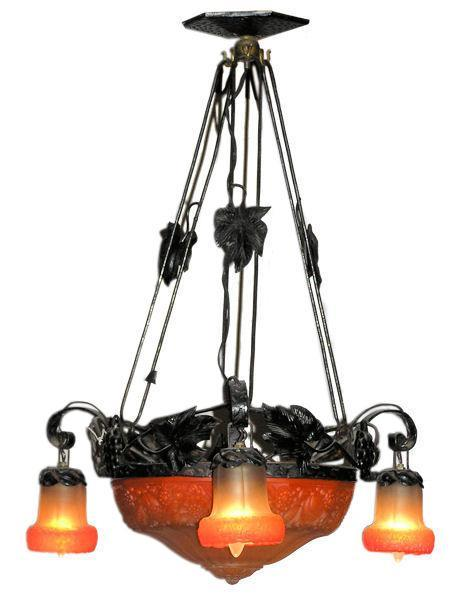 Antique French Art Deco Wrought Iron and Glass Chandelier