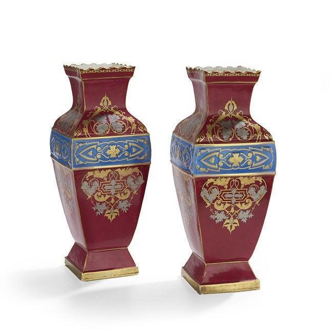 Pair Antique Paris Porcelain Red and Blue Parcel Gilt Bases