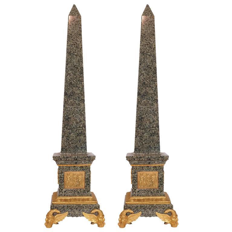 Pair Roman Neoclassical Gilt Bronze Mounted Granite Obelisks
