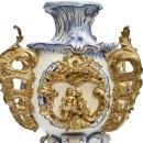 Antique Gilt Bronze Mounted Blue and White Louis XV Style Majolica Vase