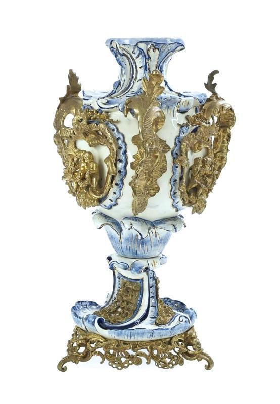 Gilt Bronze Mounted Louis XV Style Blue and White Majolica Faience Vase