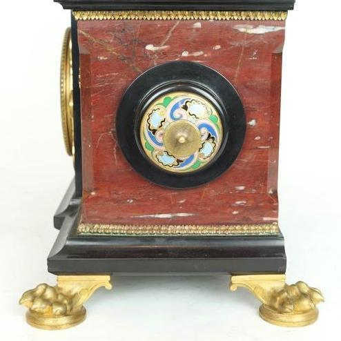 Antique Orientalist Style Marble Bronze and Champleve Enamel Clock Ganiture
