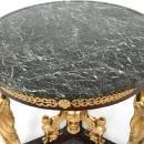 French Empire Revival Figural Gilt Bronze Mahogany & Marble Center Table