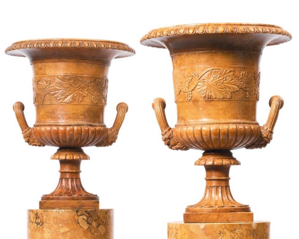 Pair Neoclassical Carved Alabaster Urns Jardinieres
