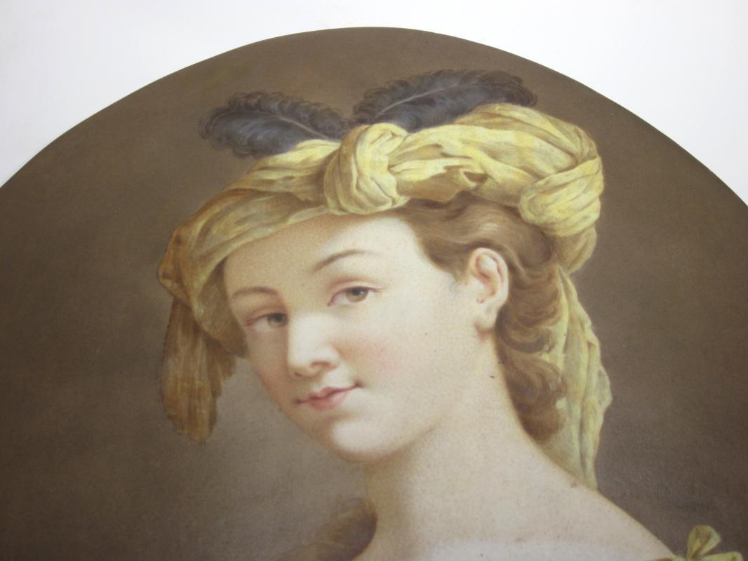 Large Antique KPM Porcelain Portrait Plaque After Louis Jean Francois Lagrenee (1725-1805)