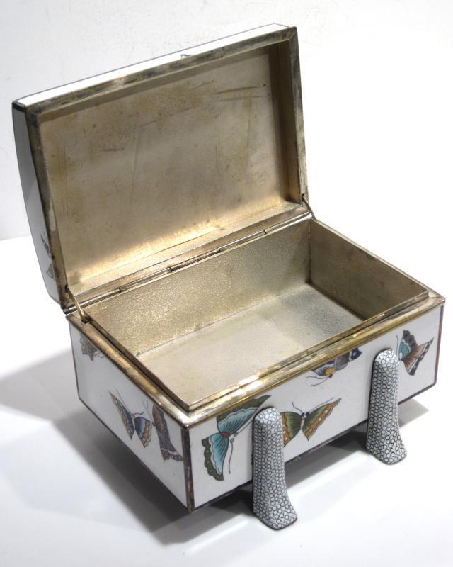 Inaba Cloisonne Enamel Jewelry Box with Butterfly (Butterflies) Motif