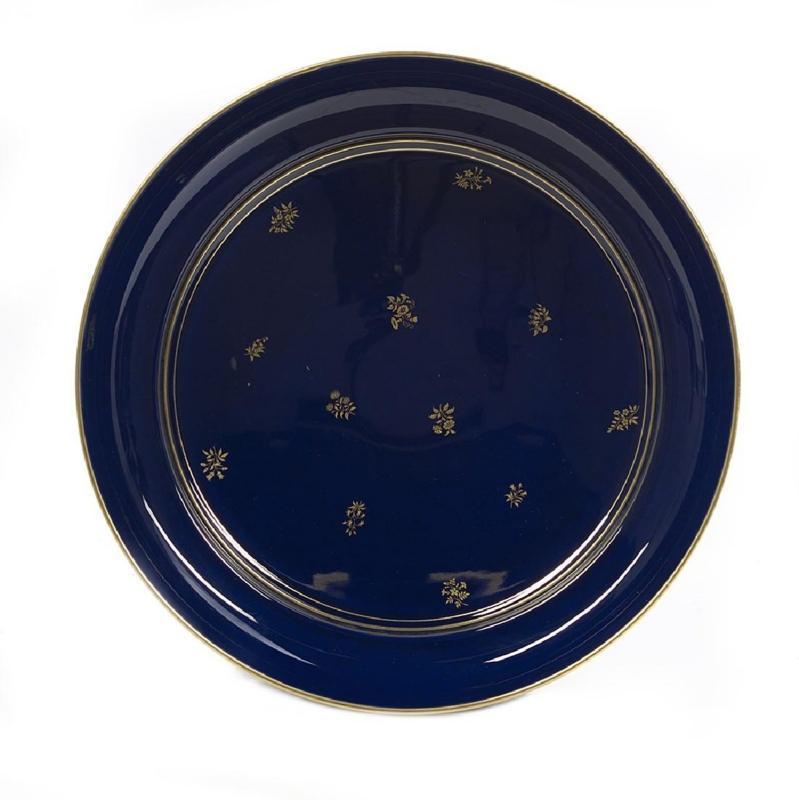 Antique Sevres Cobalt Blue Porcelain Tazza Centerpiece Bowl