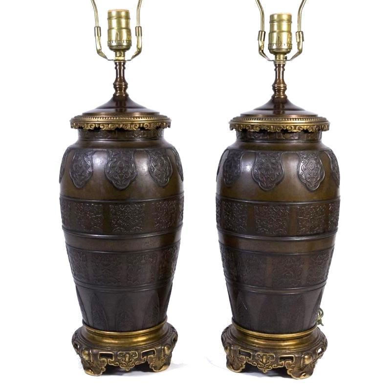 Pair Antique Chinese Porcelain Urn Form Bronze Table Lamps