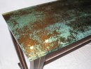 Mahogany & Acid-Etched Glass Desk by Joe Ginsberg