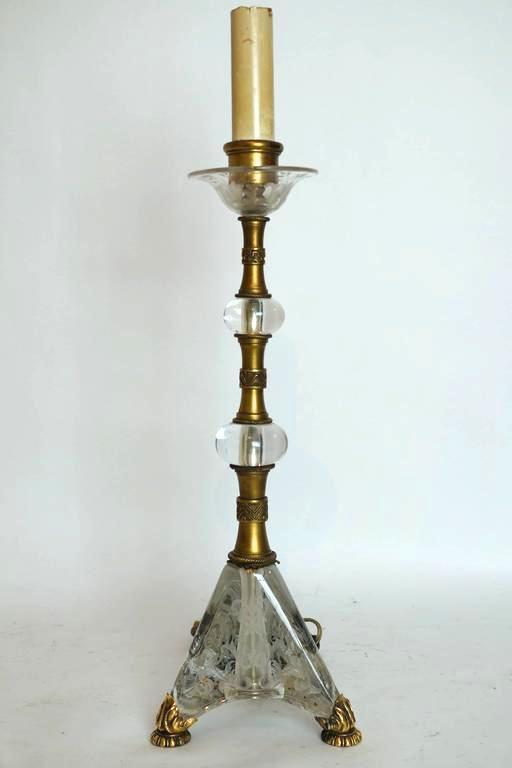 Pair Etched Glass and Gilt Metal Table Lamps