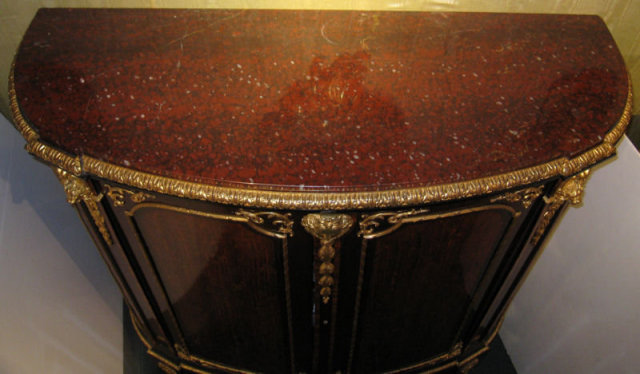 Louis XVI Style Demilune Sideboard Cabinet Server