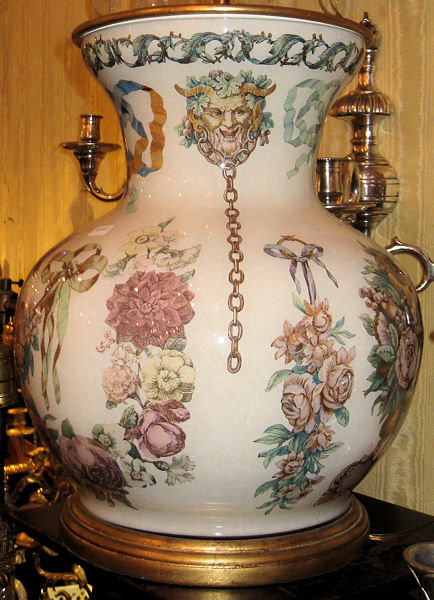 Pair of Bacchus Themed Decoupage Glass Table Lamps