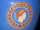 Pair Antique Greco-Roman Blue Glazed Porcelain Urns
