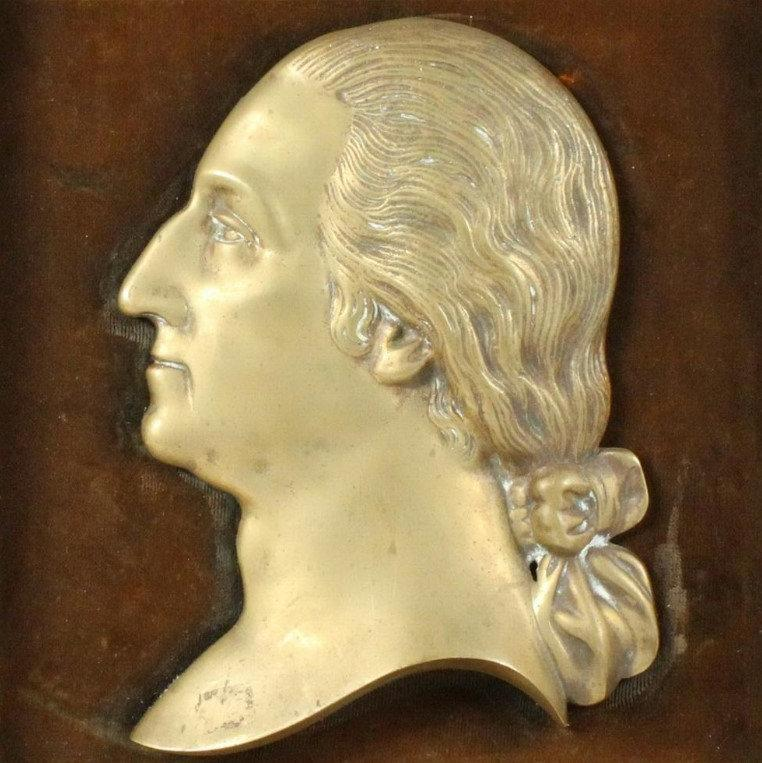 Antique Brass Bas Relief Plaque of President George Washington