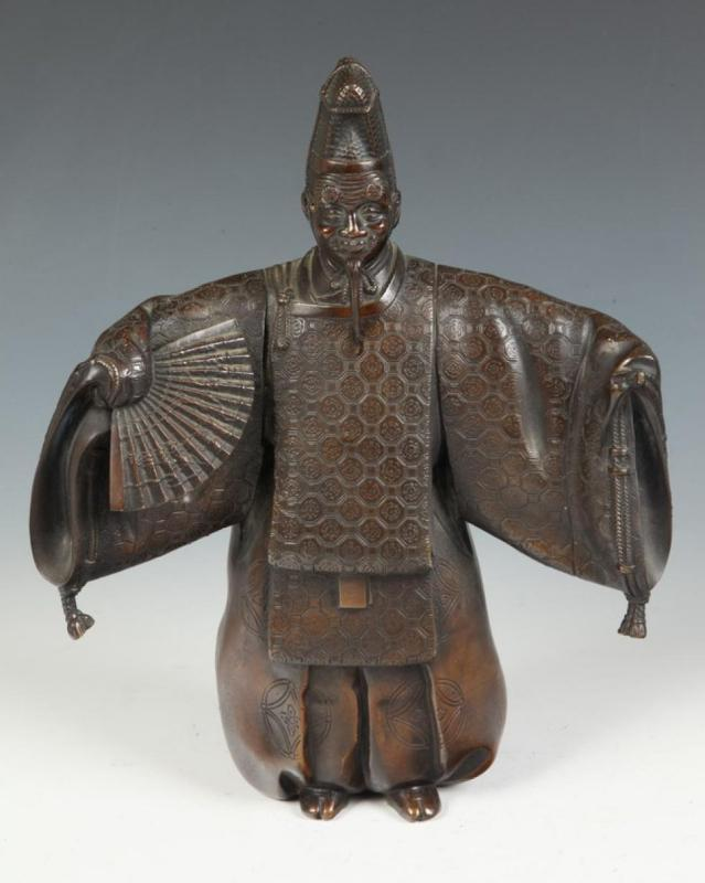 Japanese Noh Actor Okina Bronze Sculpture by Shuzan