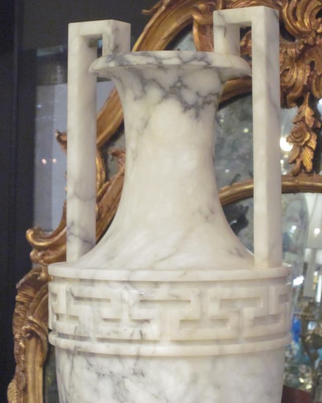 Pair Antique Greek Neoclassical Alabaster Urns