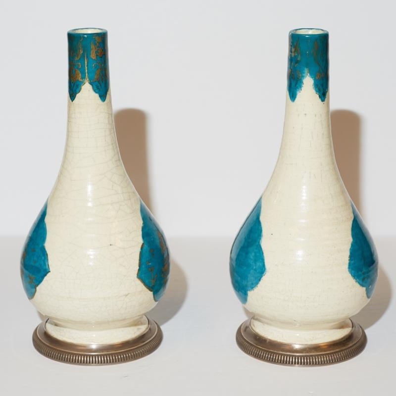 Pair Emile Puiforcat Silver-Mounted Kashan Persian Style Glazed Pottery Vases from Cartier