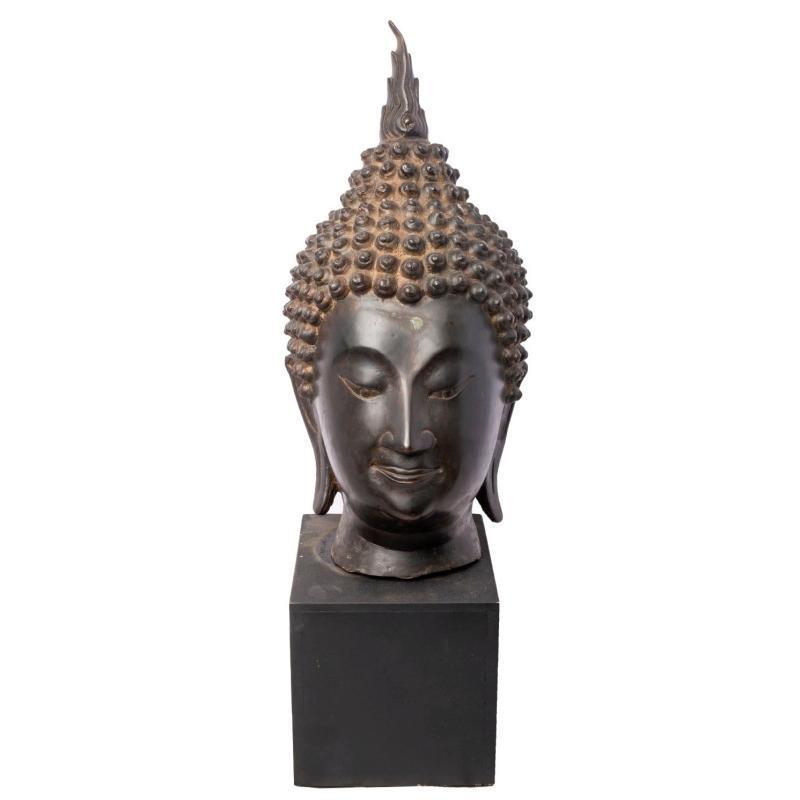 Antique Thai Bronze Bust of Buddha