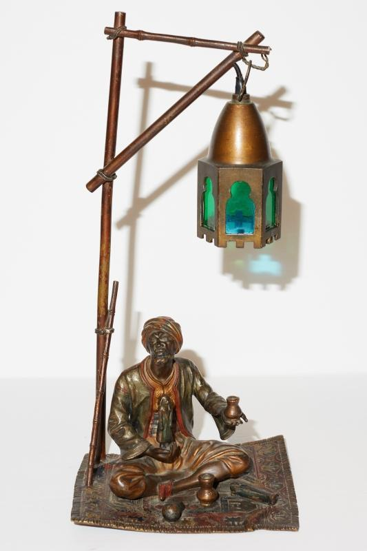 Antique Austrian Orientalist Bronze Lamp
