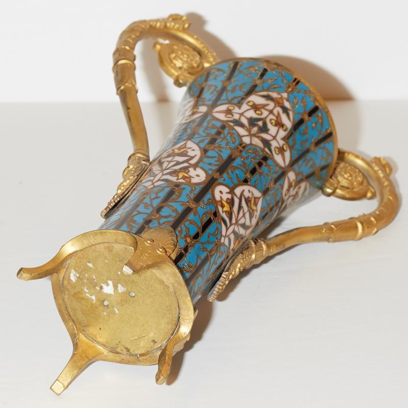 Barbedienne Champleve Enamel Gilt Bronze Vase
