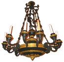 Antique Empire Style Figural Bronze 12-Light Chandelier