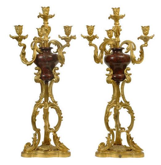 Pair Antique Russian Bronze & Marble Candelabra