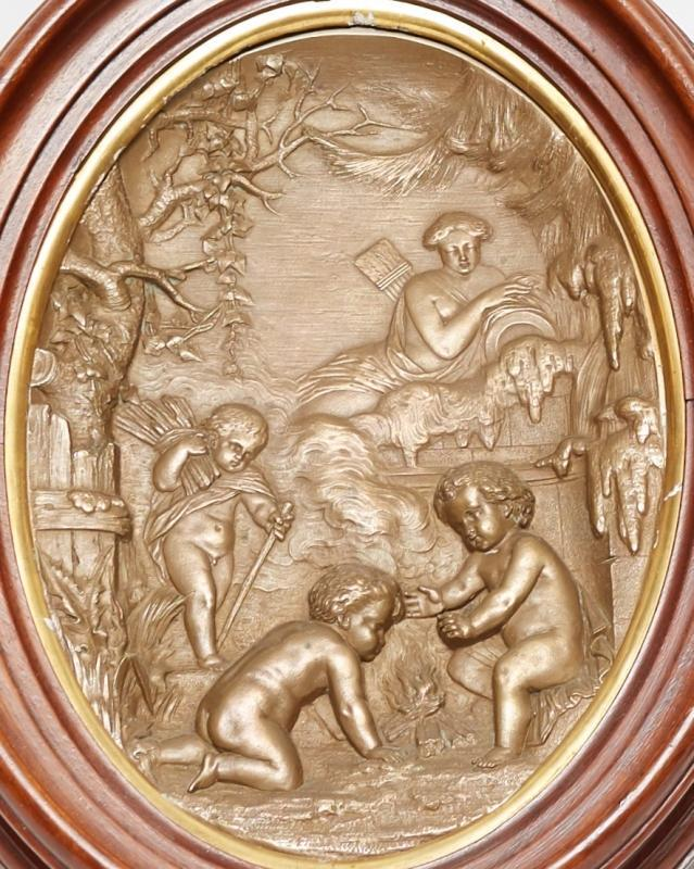 Pair Christofle Attributed Neoclassical Allegorical Bronze Bas Relief Plaques