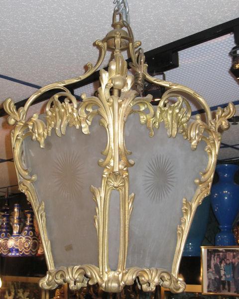 Antique Louis XVI Style Dore Bronze & Glass Lantern