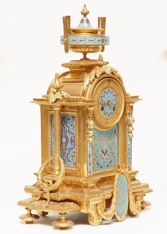 Louis XVI Style Champleve and Gilt Bronze Mantel Clock Garniture