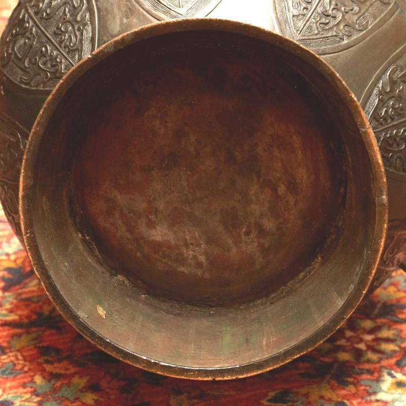 Antique Archaic Zhou Style Chinese Bronze Ritual Wine Vessel ( Vase )