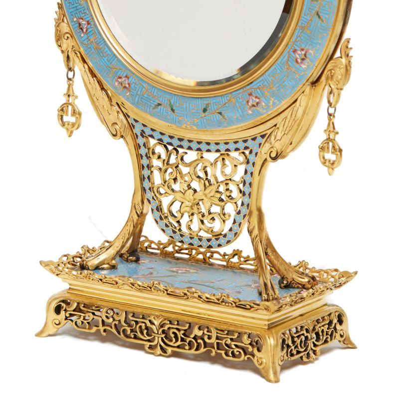 Gilt Bronze and Champleve Boudoir Mirror in Japanese Style