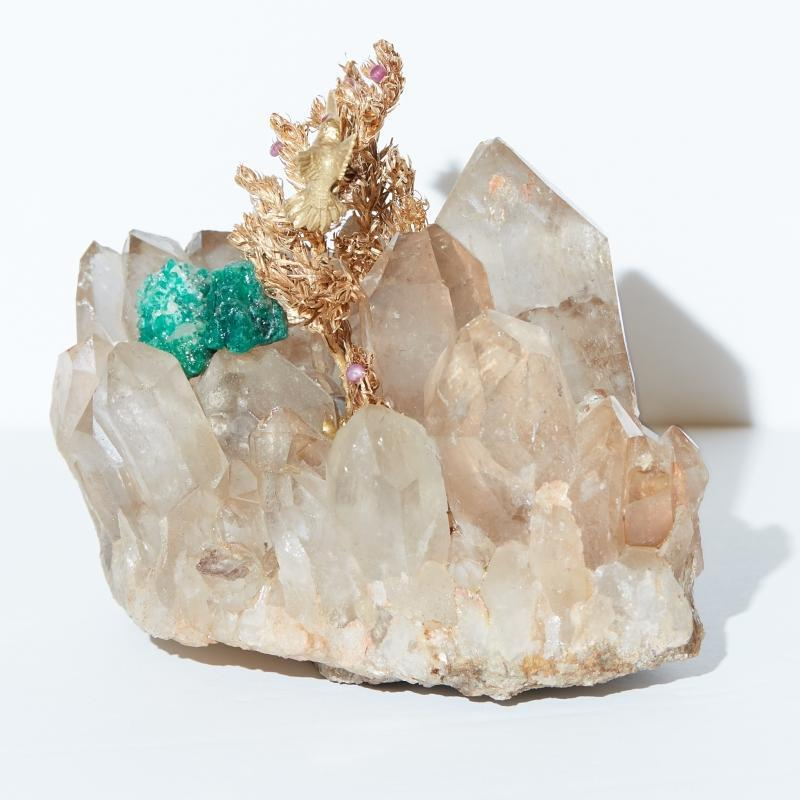 Gold Hummingbird Sculpture on Quartz and Malachite Stone