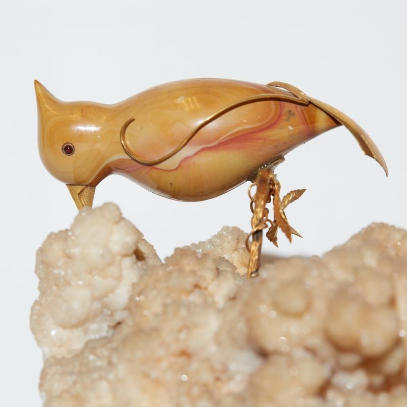 Jasper and Carmelian Stone and Gold Bird Sculpture on Quartz