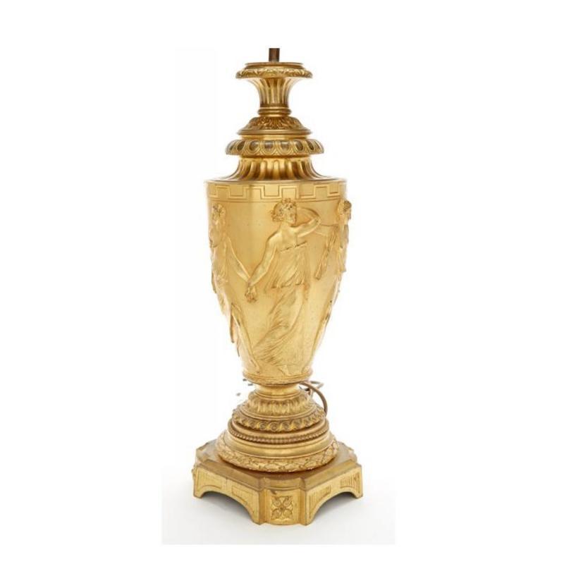 Gilt Bronze Bouillotte Lamps After Claude-Michel Clodion