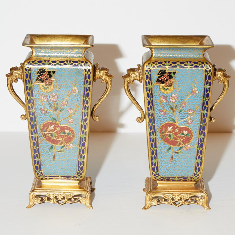 Pair Japonisme Style Gilt Bronze Champleve and Cloisonne Vases